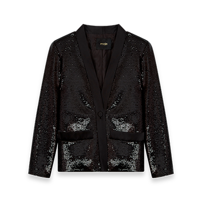 Sequin and satin jacket - Blazers - MAJE